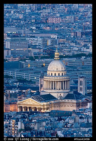 Pantheon at dusk from above. Quartier Latin, Paris, France (color)