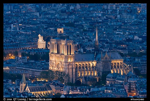 Notre-Dame de Paris Cathedral from above at night. Paris, France (color)