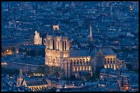 Notre-Dame de Paris Cathedral from above at night. Paris, France