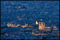 Aerial night view with Notre-Dame and Hotel de Ville. Paris, France ( color)