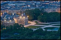 Aerial night view of Jardin du Luxembourg and Senate. Quartier Latin, Paris, France