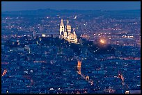 Montmartre Hill and Sacre-Coeur basilica at night. Paris, France ( color)
