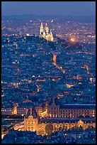 Aerial view with Louvre and Montmartre at night, Montmartre. Paris, France ( color)