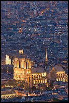 Aerial view of Notre-Dame de Paris Cathedral at night. Paris, France