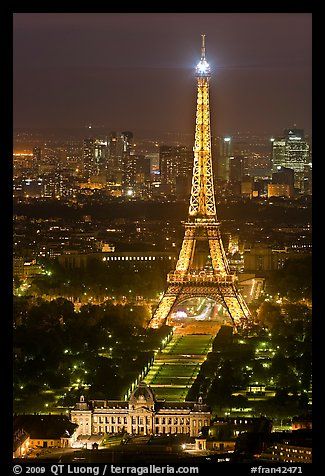Ecole Militaire and Eiffel Tower seen from above at night. Paris, France (color)