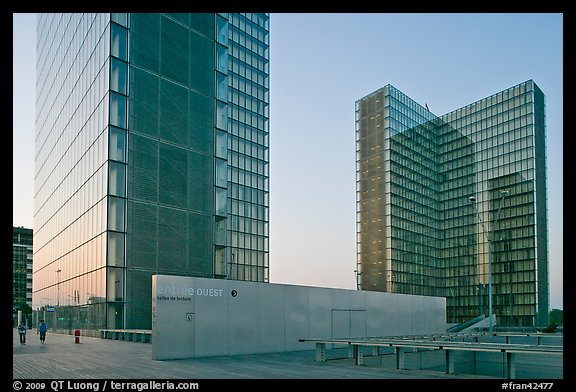 Towers of the  Bibliotheque Nationale de France at sunset. Paris, France (color)