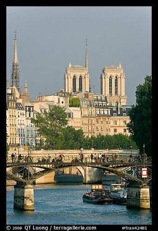 Passerelle des Arts and bell towers of Notre-Dame. Paris, France (color)