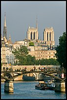 Passerelle des Arts and bell towers of Notre-Dame. Paris, France