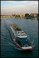 Bateau-mouche (tour boat) on Seine River. Paris, France
