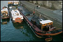 Barges and quay, Seine River. Paris, France (color)