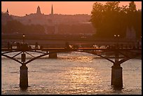 Sunset over the Seine River and bridges. Paris, France (color)