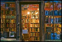 Books on shelves seen through storefront. Quartier Latin, Paris, France ( color)
