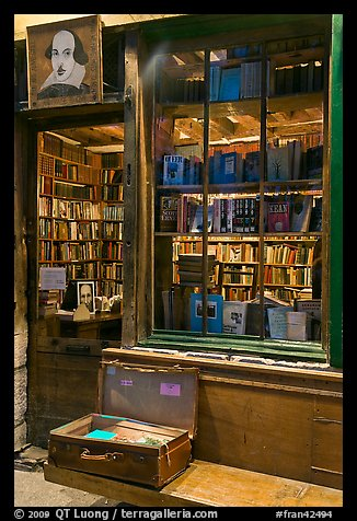 Shakespeare and Co storefront at night. Quartier Latin, Paris, France (color)