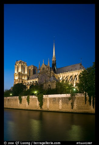 Notre Dame Cathedral and Seine River at twilight. Paris, France (color)