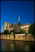 Notre Dame Cathedral and Seine River at twilight. Paris, France