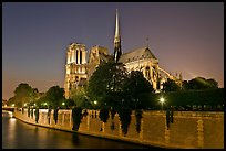 Seine River and Notre Dame de Paris at night. Paris, France ( color)