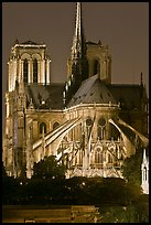 Chevet (head) and buttresses of Notre-Dame by night. Paris, France