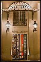 Entrance of the Tour d'Argent restaurant. Quartier Latin, Paris, France (color)