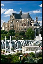 Forum des Halles and historic Saint-Eustache church. Paris, France