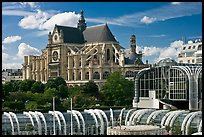 New and old architecture of Forum des Halles and  Saint-Eustache. Paris, France (color)