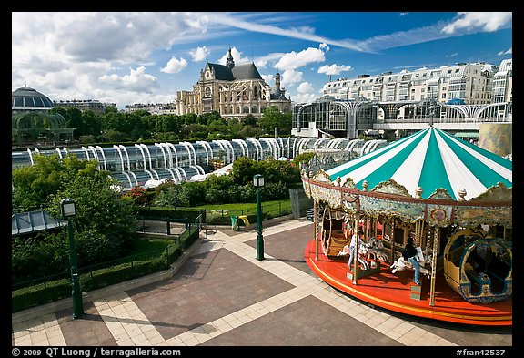 Carousel, Forum des Halles and Saint-Eustache church. Paris, France