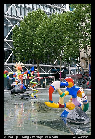 Fontaine des automates with modern colorful sculptures. Paris, France