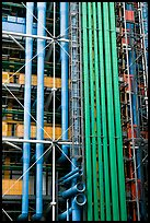 Exposed functional structural elements of Centre George Pompidou. Paris, France (color)