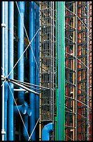 Color-coded pipes (climate,electrical,plumbing,circulation), Centre George Pompidou. Paris, France (color)