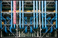 Rear of Pompidou Center with exposed blue tubes used for climate control. Paris, France (color)
