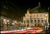 Opera (Palais Garnier) at night with lights. Paris, France (color)