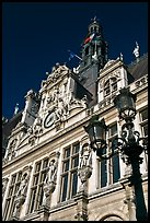 Renaissance-style facade, Hotel de Ville. Paris, France (color)