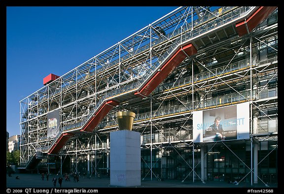Centre George Pompidou (Beaubourg) in postmodern style. Paris, France (color)