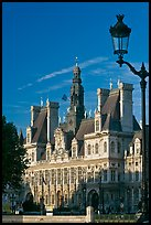Street lamp and Hotel de Ville, afternoon. Paris, France ( color)