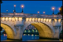 Pont-Neuf and lights by night. Paris, France (color)