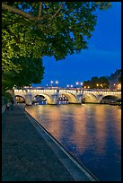 Ile de la Cite quay and illuminated Pont-Neuf. Paris, France