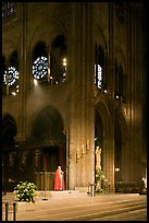 Cardinal reading and crossing of Notre-Dame cathedral. Paris, France (color)