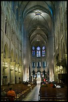 Nave during mass, Notre-Dame. Paris, France (color)
