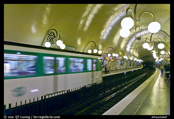Subway train and station. Paris, France (color)
