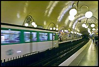 Subway train and station. Paris, France ( color)