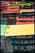 Wet tables and chairs, Montmartre. Paris, France (color)