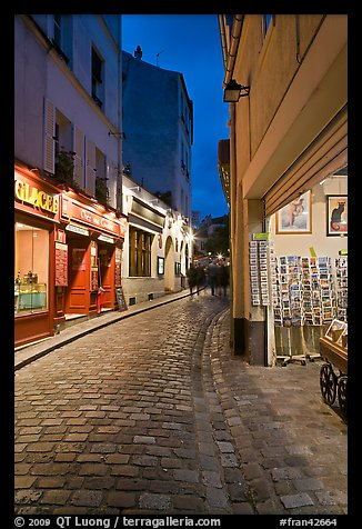 Pedestrian cobblestone street and tourist business, Montmartre. Paris, France (color)