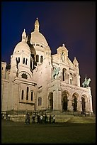 Basilica of the Sacre-Coeur (Basilica of the Sacred Heart) at night, Montmartre. Paris, France (color)