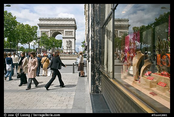 Jewelry store, sidewalk, and Arc de Triomphe. Paris, France (color)