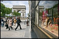 Jewelry store, sidewalk, and Arc de Triomphe. Paris, France