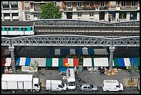 Aerial portion of metro from above, with public market stalls below. Paris, France ( color)