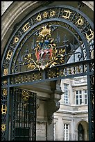 Gate and emblem of the city of Paris, Carnevalet Museum. Paris, France (color)