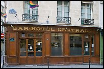 Old Bar hotel and rainbow flag. Paris, France (color)