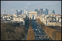 Aerial view of Champs-Elysees, Arc de Triomphe, and La Defense. Paris, France