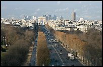 Champs-Elysees, Arc de Triomphe, in winter. Paris, France (color)