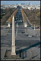 Place de la Concorde Obelisk and Champs-Elysees, seen from above. Paris, France
